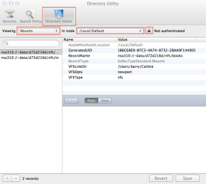 Screenshot of disk utility, showing directory editor selected and two nfs records